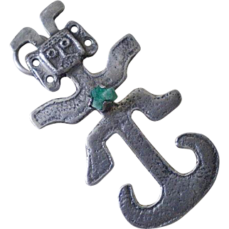 "Unusual COLOMBIAN Mid-century .900 Silver Raw Emerald Tribal Ethnic Pre-Hispanic ""Tolima"" PIN PENDANT"
