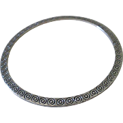 "Unusual HOB Signed Mexican Mid-century Handcrafted .925 Silver ""Dimpled Dot"" Disc Style FLAT BANGLE BRACELET"