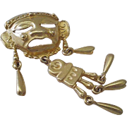 """BIG Bold 1980s TRIBAL Aztec Style Matte Goldtone Articulated KINETIC BROOCH with Dangling Embellishments ~ Nearly 3"""" Tall"""