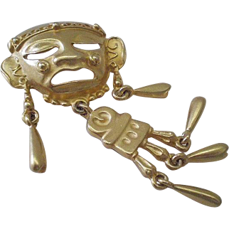 """FABULOUS Fun 1980s TRIBAL Aztec Style Matte Goldtone Articulated KINETIC BROOCH with Dangling Embellishments ~ Nearly 3"""" Tall"""