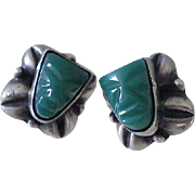 Classic Mexican PRE-EAGLE Sterling Silver Green Glass Onyx Art Deco Style MASQUETTE EARRINGS with Repoussé Coffee Bean Accents