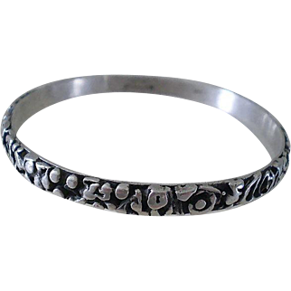 Sublimely Rare TONI CATANZARO Prized Mid-century Modernist Designer Handmade Brutalist Sterling Silver Unisex BANGLE BRACELET ~ Specially Priced for Collector!