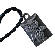 "Charming TYR Swedish Mid-century Modern Solid Pewter Folkloric ""Minervauggla"" OWL PENDANT Necklace"