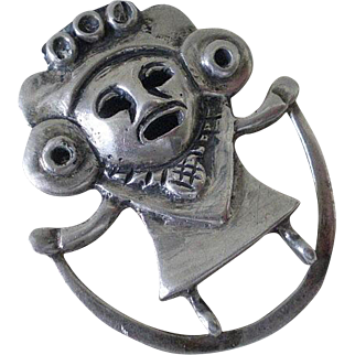 Highly Unusual MEXICAN Pre-Eagle Handwrought Repousse Sterling Silver Tribal Aztec SNAKE GODDESS Figural Brooch