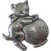 "Delightful Vintage BEAU STERLING Early Mid-century 1950s ""Cat in the Fish Bowl"" Silver PIN BROOCH"
