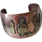 UNIQUE 1960s Mid-century Mexican Handmade Mixed Metal Wide Unisex COPPER CUFF BRACELET with Iconic Folklore Design ~ 56.2 Grams