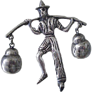 PRE-EAGLE 1930s Mexico Hand Cast Sterling Silver Traditional Water Bearer FOLKLORIC BROOCH