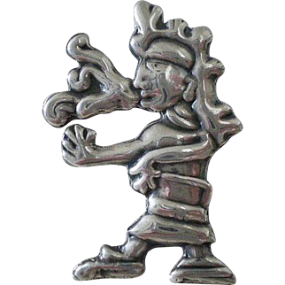 """DAZZLING 1930s Mexico Pre-Eagle Handwrought Repousse Sterling Silver Aztec Tribal """"SPELL CASTER"""" BROOCH"""
