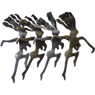"One-of-a-kind EMERSON Mid-century Studio Modernist Handcrafted Sterling Silver Brass Dancing Women ""CHORUS LINE"" BROOCH"