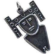 "Rarely Seen COLOMBIAN Mid-century Handwrought .900 Silver Muisca Tribal ""Tunjo"" Esoteric Amulet Talisman Votive CHARM PENDANT - Red Tag Sale Item"