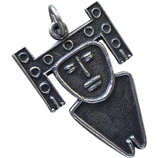 "Rarely Seen COLOMBIAN Mid-century Handwrought .900 Silver Muisca Tribal ""Tunjo"" Esoteric Amulet Talisman Votive CHARM PENDANT"