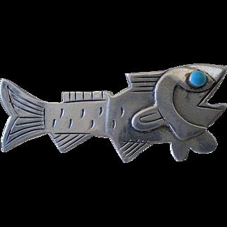 Splendid GRAZIELLA LAFFI Peruvian Mid-century Modernist 1950s .925 Silver Turquoise Enamel Pre-Columbian Tribal FISH BROOCH