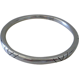 SCINTILLATING Taxco Mexico 1980's Modernist Sterling Silver Pierced Shadow Box CYLINDRICAL BANGLE Bracelet ~ 20 Grams