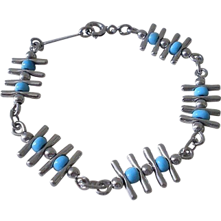 ELEGANT O.P. Orlandini for Uno A Erre Fully Hallmarked Mid-century Italian Modernist .925 Silver Turquoise Glass Bead LINK BRACELET