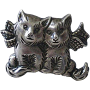 """Endearing Early BEAU STERLING 1940s """"Cat Couple with Bows"""" Silver PIN BROOCH"""