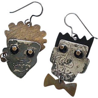 "Totally One-of-a-Kind OUTSIDER ART 1970s Mixed Metals Handmade Assemblage ""He and She"" Pierced DANGLE EARRINGS"