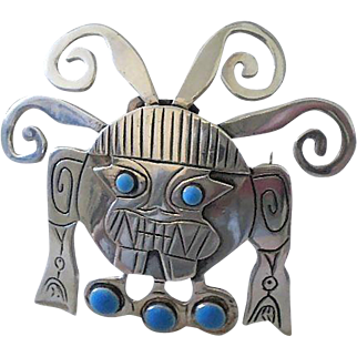 Exceptionally Rare GRAZIELLA LAFFI Mid-Century Peruvian Silver with Turquoise Enamel Inca God Viracocha TRIBAL BROOCH PENDANT ~ Specially Made For Export to Scandinavia