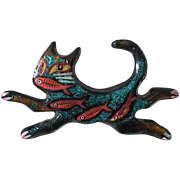 """Rare Early MARY DELAVE Avant-garde Hand Painted Cast Plastic Resin Mixed Media """"CAT FISH"""" Brooch ~ Signed + Dated 1989 ~ 3-1/2"""" Long ~ Priced for Collector!"""