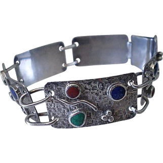 Dazzling 1980s STUDIO Handcrafted .950 Silver Multi Gemstone Textured Panel ABSTRACT MODERNIST BRACELET
