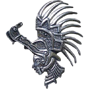 Strikingly Rare Marcel Boucher PARISINA 1940s Mexican Sterling Silver Mythic Ceremonial CROCODILE WARRIOR Brooch