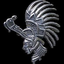 Strikingly Rare Marcel Boucher PARISINA 1940s Mexican Sterling Silver Mythic Ceremonial CROCODILE WARRIOR Brooch