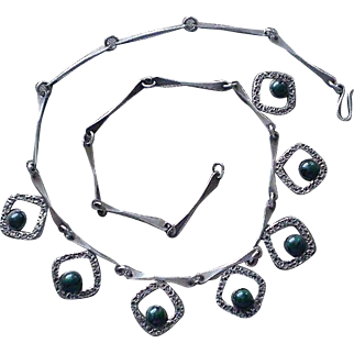 Elegantly Designed ISRAEL 1960s Mid-century Studio Handmade .925 Silver Eilat Gemstone Abstract Modernist BONE LINK NECKLACE