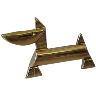 Uncommon EUROPEAN 1920's Hand-forged Deco Bauhaus Geometric Goldtone Dachshund DOG BROOCH