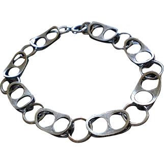 Stunning FINNFEELINGS Karl Laine Design Finnish Mid-century Abstract Modernist .925 Silver MULTILINK BRACELET!