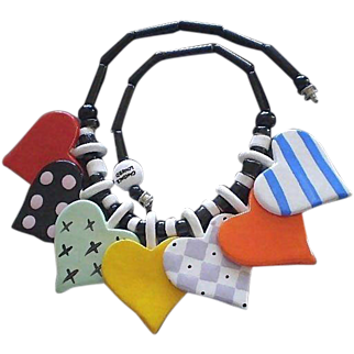 Super Fabulous Fun RUBY Z 1980s Vintage Multicolored Glazed Ceramic Hearts Bead Necklace by CANDACE LOHEED ~ 89 Grams