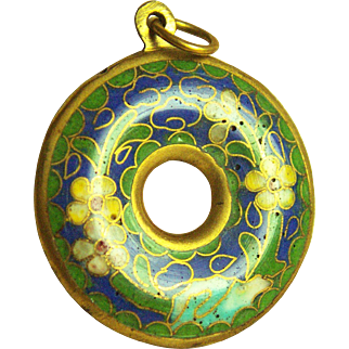 Stunning Vintage Chinese Cloisonne Pendant 9.5 g