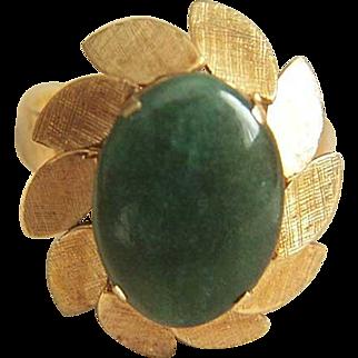 Stunning Vintage 14K 585 Designer Signed Jade Ring Size7 4.74 g