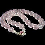 "Amazing Estate Carved Rose Quartz (Pink Jade) Lotus Bead Sterling Silver Necklace 18""  81.5 g"