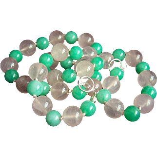 Fabulous Sterling Rose and Jade Green Quartz Beads Necklace 19 1/2""