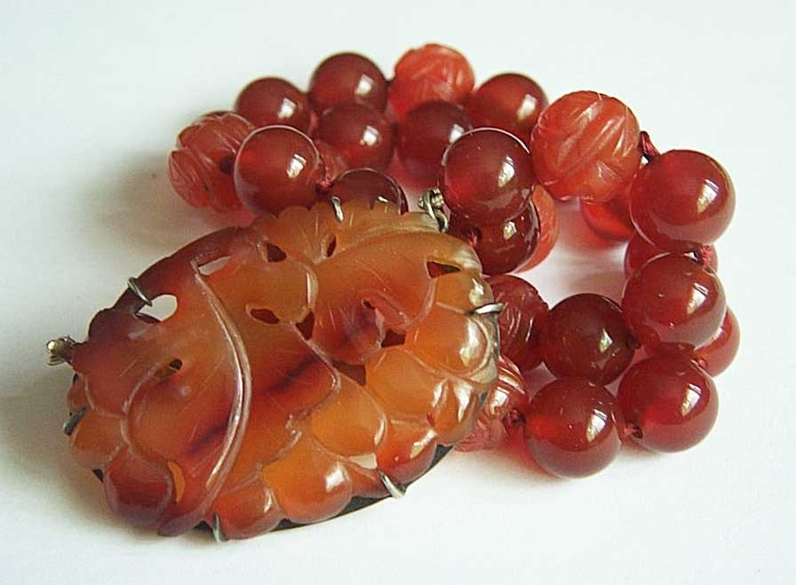 Chinese Vintage Sterling Jade Red Carnelian Necklace