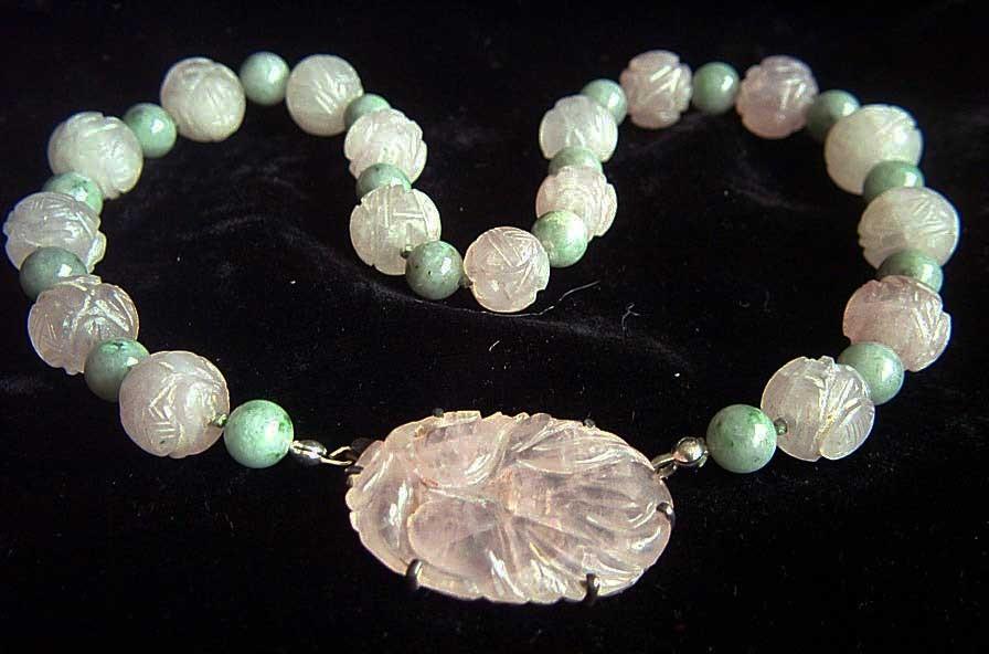 Vintage Chinese Sterling Silver Jade Amp Carved Rose Quartz