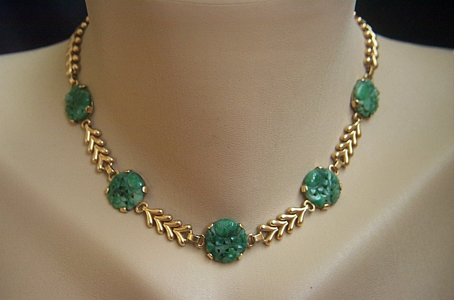 fabulous vintage 14k tiffany co vintage carved jadeite