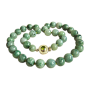 """Estate sterling silver necklace with large vintage jadeite jade beads 23""""  heavy 153.3 g"""