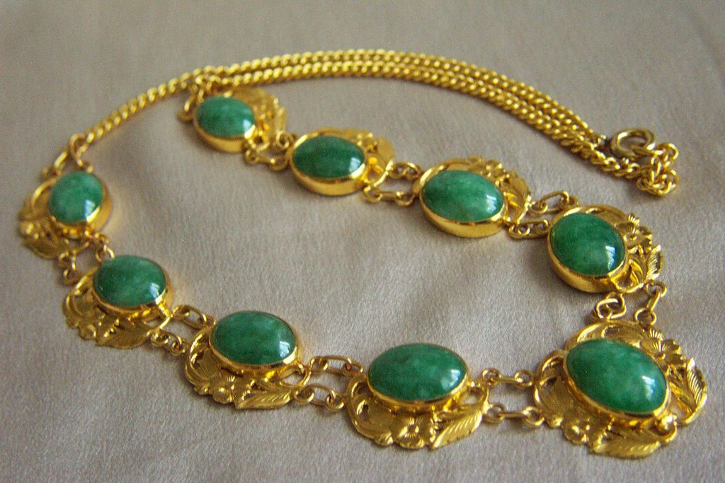 Fabulous Estate Chinese Pure Gold 24k Jadeite Jade