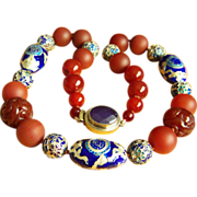 "Fabulous Vintage Jade Red Carnelian Beads Cloisonne Lapis Lazuli Clasp Necklace 25 1/4"""