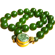 "Amazing vintage Chinese large leaf green nephrite jade bead necklace 18"" 107.5 g"