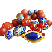 "Stunning vintage Chinese cloisonne large carved and smooth jade red carnelian agate beads lapis lazuli clasp necklace 26"" 195.6 g"