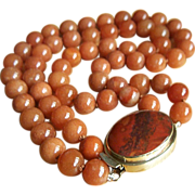 Magnificent Estate 2 Strands Large Rustic Red Jade Beads Necklace 204.2 g