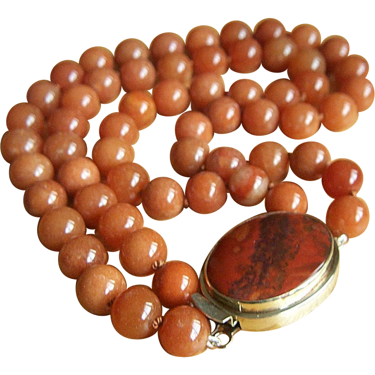 Magnificent Estate 2 Strands Large Rustic Red Jade Beads