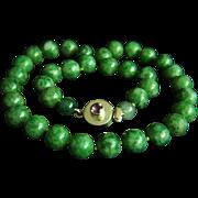 "Stunning vintage jadeite jade sterling amethyst clasp necklace 20 3/4""  100.8 g"