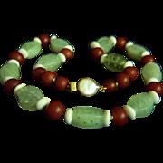 "Amazing estate carnelian jade TAI CHI bead necklace 23"""