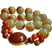 """Fabulous Vintage Chinese Natural Large Agate Carnelian Necklace 19"""" 219.4 g"""
