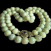 "Fabulous Long Vintage Jadeite Jade Bead Sterling Amethyst Necklace 36 1/4"" Heavy 243.9 g"