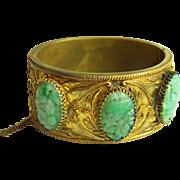 Stunning Vintage Chinese Gold Gilt Carved Jadeite Jade Cabochon Hinged Bangle Bracelet 83.9 g