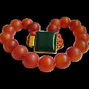 "Stunning Estate Large Carnelian Agate Bead Jade Clasp Necklace 20.5""  Heavy 244.7 g"