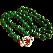 "Amazing Estate Vintage Mottling Deep Green Jade Carnelian Sterling Silver Necklace 30 1/2""  130.9 g"